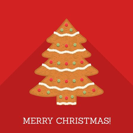 Gingerbread Christmas tree with Merry Christmas congratulation