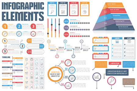 Infographic Elements - process infographics, workflow diagrams, timeline infographics, steps and options, pyramid chart, table, text box, flowchart design elements