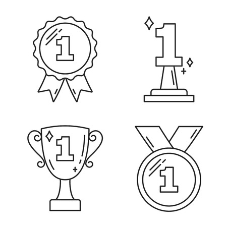 First place award - line icons Illustration