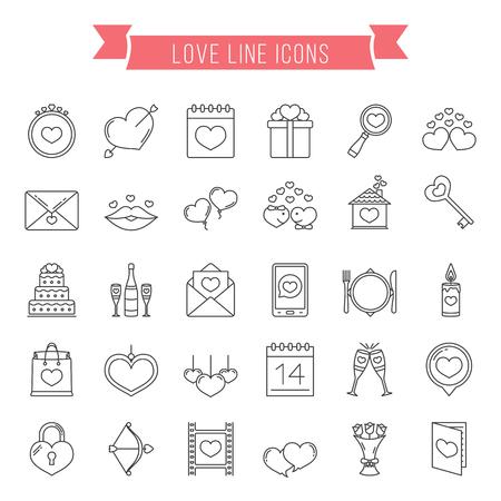 30 Liebe Linie Symbole können zum Valentinstag oder Hochzeit verwendet werden