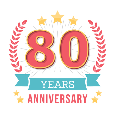 80 years: 80 Years anniversary emblem with ribbon, laurel wreath and stars Illustration