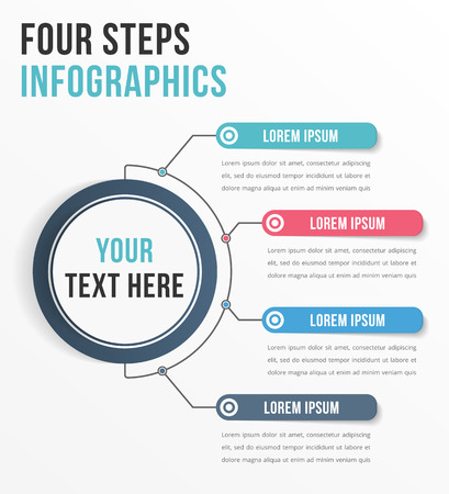 workflow: Infographic template with four steps or options, workflow, process diagram Illustration