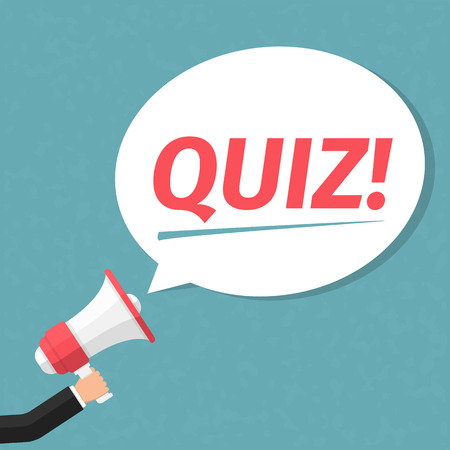 quizzes: Hand with megaphone and speech bubble with word Quiz