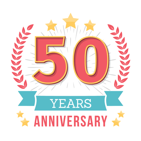 50 Years anniversary emblem with ribbon, laurel wreath and stars, vector eps10 illustration