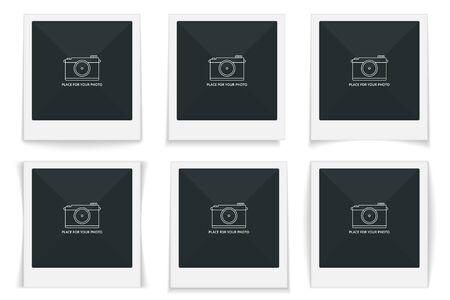 Photo frames with different shadows, vector eps10 illustration