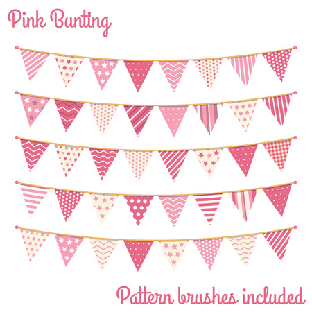 Pink bunting, design elements for decoration of greetings cards, invitations etc, vector eps10 illustration