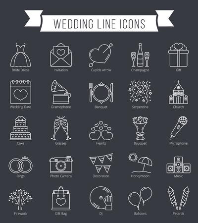 25 Hochzeit Linie Symbole können zum Valentinstag verwendet werden Standard-Bild - 71546023