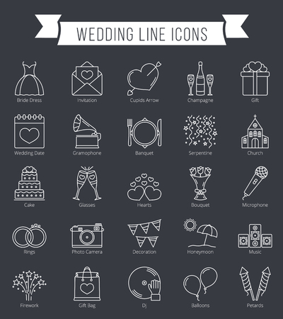 25 Wedding line icons, can be used for Valentine's day Vectores