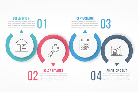 Process diagram template with circles, flowchart or workflow with four elements, steps or options, business infographics