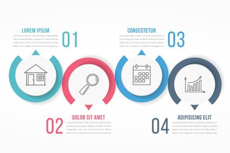 Processchema sjabloon met cirkels, flowchart of workflow met vier elementen, stappen of opties, zakelijke infographics