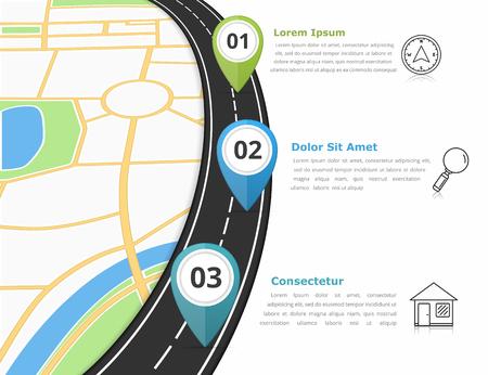 infografica stradali modello con tre indicatori di mappa e posto per il testo