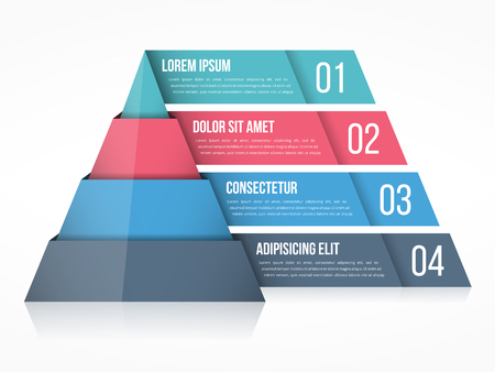 segmentar: Pyramid chart with four elements with numbers and text, pyramid infographic template