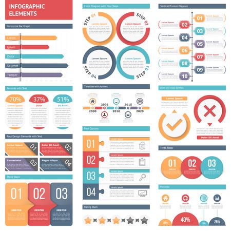 Infographicelementen - staafgrafiek, ontwerpelementen met aantallen en tekst, chronologie, cirkeldiagram, procesgrafiek
