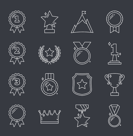 Medals and awards line icons