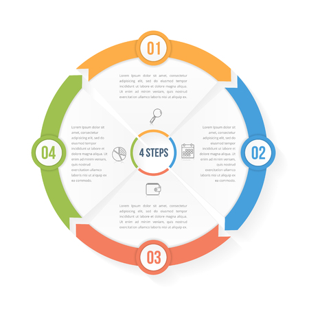 arrow circles: Circle infographic template with four elements, steps or options, workflow or process diagram, data vizualization