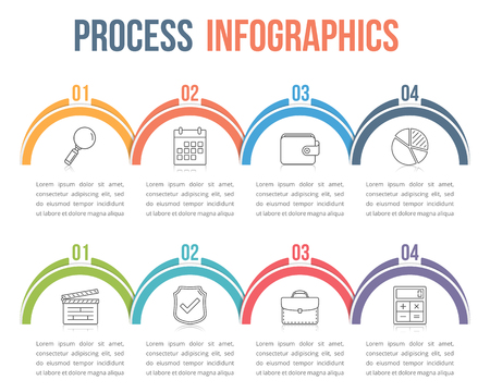Infographic Template With Four Steps Or Options Workflow Process