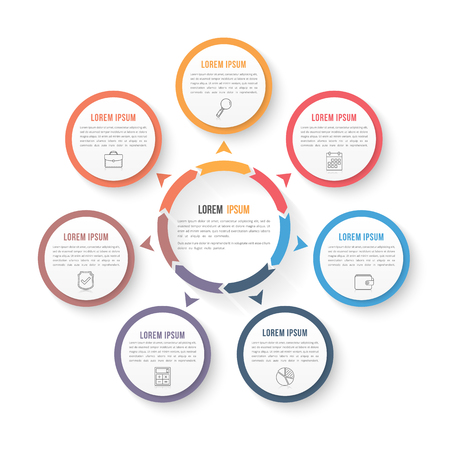 Circle infographic template with seven elements, steps or options, workflow or process diagram, data vizualization Иллюстрация
