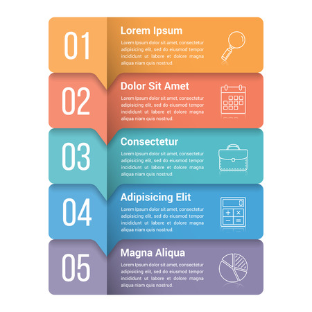 Infographic template with five steps or options, workflow, process diagram