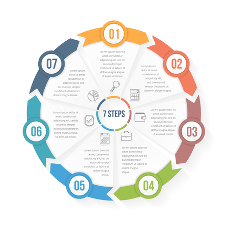 Circle infographic template with seven elements, steps or options, workflow or process diagram, data vizualization Illustration