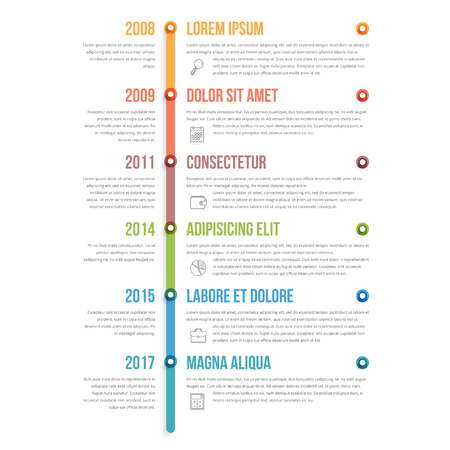 Colorful vertical timeline infographics template, workflow, process diagram