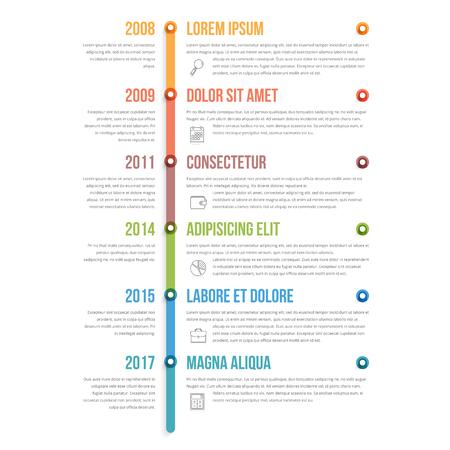Template verticale colorato timeline infographics, flusso di lavoro, diagramma di processo Vettoriali