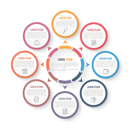 Circle infographic template with eight elements, steps or options, workflow or process diagram, data vizualization, vector illustration Ilustração