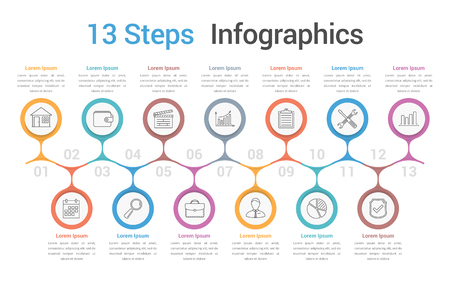 Infographic template with 13 spteps or options, business infographics, process, workflow diagram, vector eps10 illustration