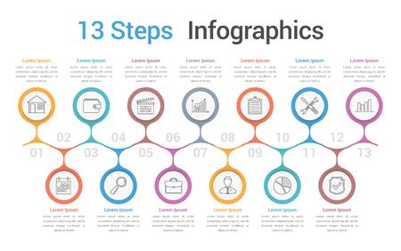 Modèle d'infographie à 13 étapes ou options, infographie de l'entreprise, processus, diagramme de flux de travail, illustration vectorielle eps10 Vecteurs