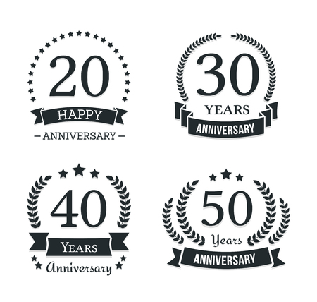 4 different anniversary logo templates, anniversary emblems, vector eps10 illustration Ilustração