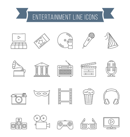 cinema screen: Set of 20 entertainment line icons, vector eps10 illustration