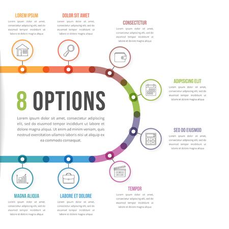 8 Opties infografisch sjabloon met lijn iconen voor presentaties, rapporten, brochures, enz. Kunnen worden gebruikt als stappen, workflow, proces, vector eps10 illustratie