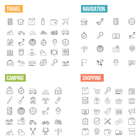 navigation icons: Travel, navigation, camping and shopping line icons, vector  illustration Illustration