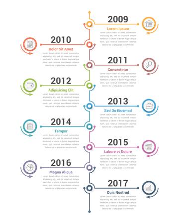 Vertical timeline infographics template, workflow or process diagram, vector eps10 illustration  イラスト・ベクター素材