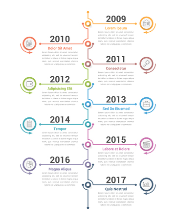 Vertical timeline infographics template, workflow or process diagram, vector eps10 illustration Ilustração