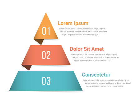 Pyramid infographic template with three elements, vector eps10 illustration