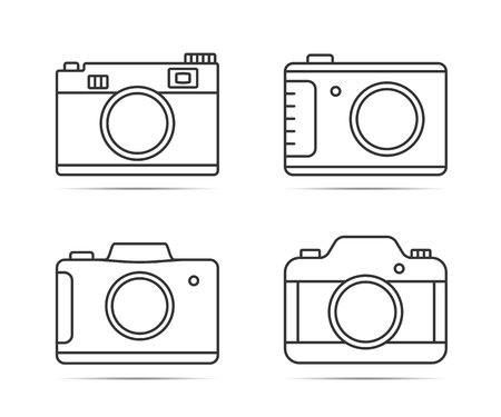 4 Camera line icons on white background, vector eps10 illustration