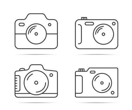 4 Camera line icons on white background, vector eps10 illustration