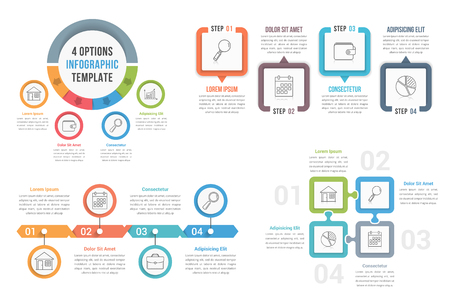 be: Four steps infographic templates, can be used as process, options, workflow, vector eps10 illustration Illustration