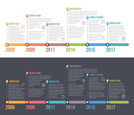 Horizontal modelo infográficos linha do tempo, o fluxo de trabalho ou processo de diagrama, vetor eps10 ilustração Ilustración de vector
