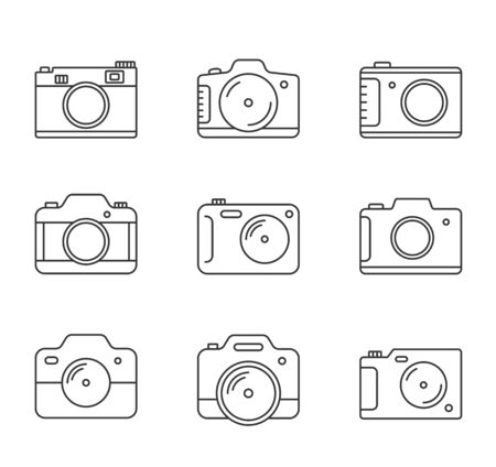 9 Camera line icons on white background, vector eps10 illustration