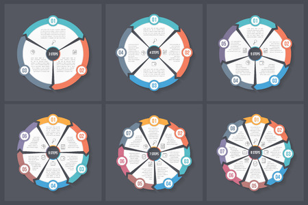 Circle infographic templates with 3, 4, 5, 6, 7 and 8 elements, steps or options, workflow or process diagram, data vizualization, vector eps10 illustration