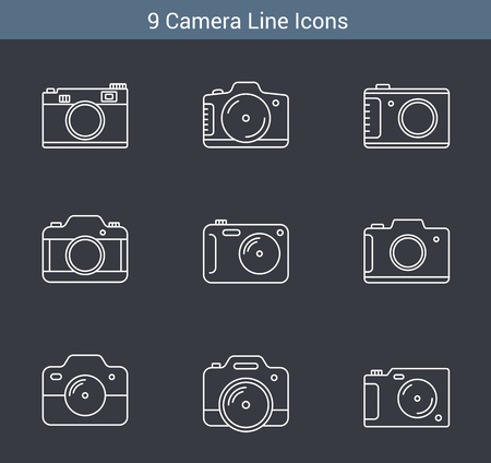 9 Camera line icons on white background, vector eps10 illustration