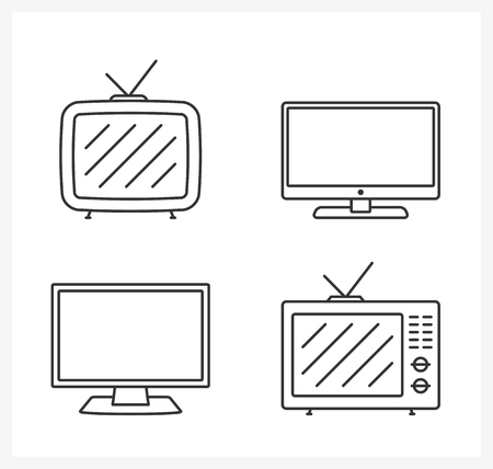 lcd tv: Retro and modern TV line icons, vector eps10 illustration