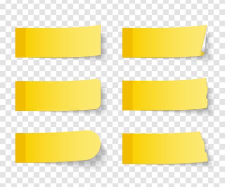 影で、ベクトル eps10 図 6 異なる黄色 sticy ノートのセット  イラスト・ベクター素材