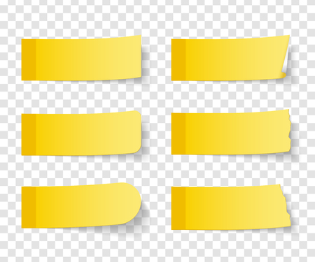 Set of six different yellow sticy notes with shadows, vector eps10 illustration