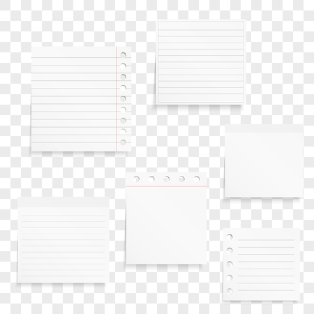 Blank white paper notes with shadows