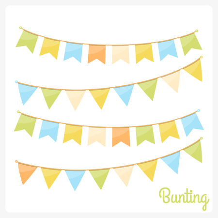 Colorful bunting for decoration of invitations, greeting cards, bunting flag and etc.