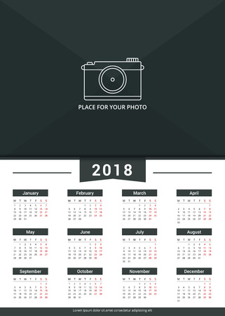 ribbon: 2018 Calendar template, a3 size, place for your photo, vector eps10 illustration Illustration