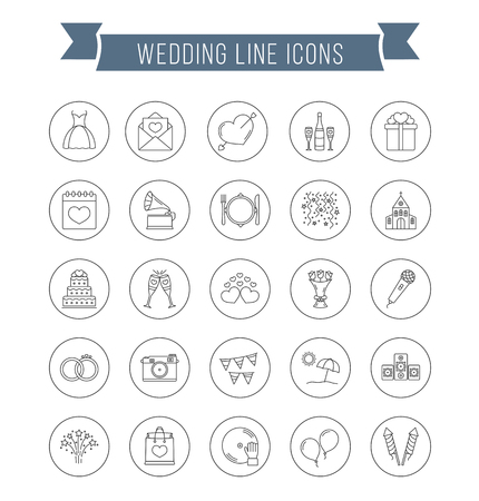 plate camera: 25 Wedding line icons, can be used for Valentines day, vector eps10 illustration Illustration