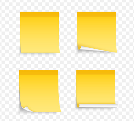 Set of four different yellow sticy notes with shadows, vector eps10 illustration Illustration